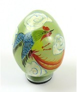 Miniature Light Green Jade Colored Stone Egg w/ Hand Painted Rooster Art - $12.86