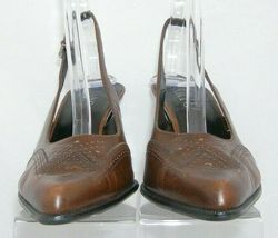 Franco Sarto brown leather pointed oxford brogue buckle slingback heels 7.5M image 5