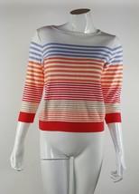 Liz Claiborne Lizsport Women Size Sm White Red Orange Purple Striped Blo... - $13.09
