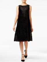 ALFANI Velvet Burnout A-Line Fit & Flare Sleeveless Dress Black Optic Di... - $6.49