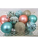 "Coastal Nautical Beach Aqua Gold Glitter Shatterproof Ornaments 2.5"" Set... - $16.99"
