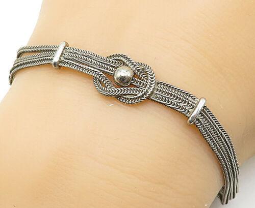 925 Silver - Vintage Ball Bead Detailed Multi-Strand Chain Bracelet - B5340