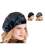 Ladies Sequin French Beret Hat available in Black, Navy or Silver/Grey - $23.16