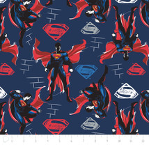 "Batman V Superman Navy Red Camelot 100% cotton Fabric Remnant 23"" - $10.77"
