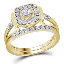 10kt Yellow Gold Round Diamond Square Bridal Wedding Ring Set 1/3 Ctw - $760.00