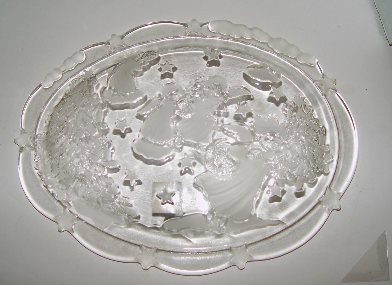 Mikasa Crystal Christmas  Platter / Dish Holiday Angels