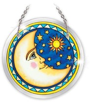 Amia Beveled Glass Circle Suncatcher Moon Design, 3-3/4-Inch, Small