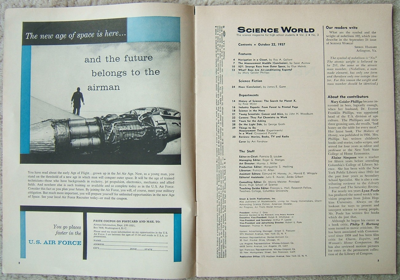 Science World Science Magazine for High School Students October 22 1957 Vintage