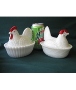 """Westmoreland Glass Chicken Covered Dishes: 5 1/2"""" Rooster & Hen Set - $15.00"""