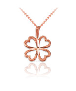 10K Rose Gold Tiny Irish Shamrock Clover DC Charm Necklace - $49.99+