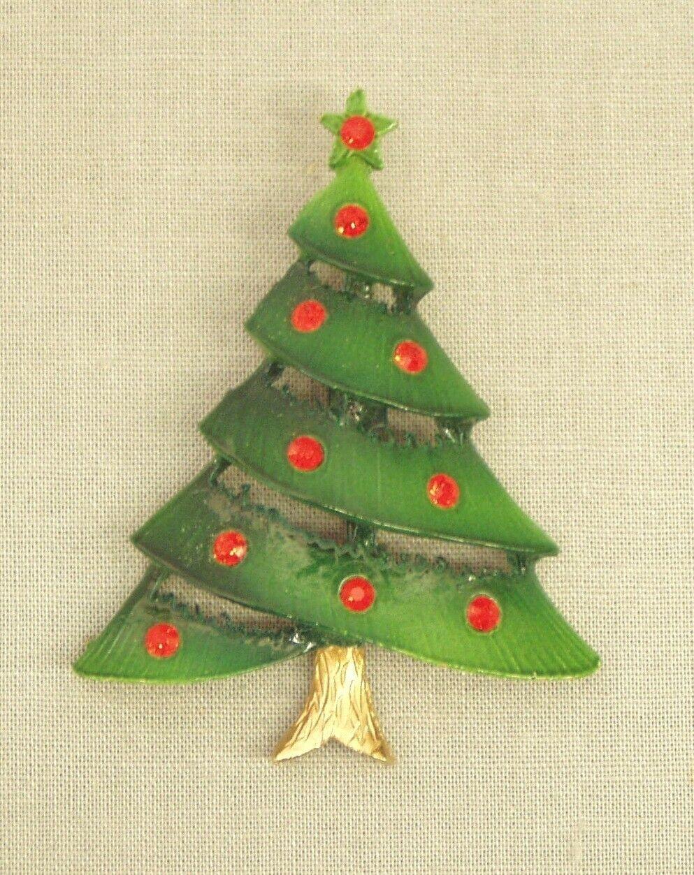 "Vintage Christmas Tree Pin Brooch green enamel red rhinestones jewelry 2.25"" t - $9.50"