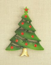 Vintage Christmas Tree Pin Brooch green enamel red rhinestones jewelry 2... - $9.50