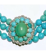 BIG turquoise possibly Persian rose cut diamond halo clasp necklace brac... - $4,512.50