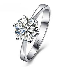 Solid  Crystal Ring Women Classic Wedding Jewelry Rings For Engagement W... - $11.20