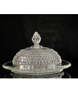 Vintage Clear Glass Crystal Cut Diamond Oval Covered Butter Dish - $26.18