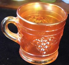 Antique Vintage Banded DUGAN Marigold Carnival Glass Mug - $21.66