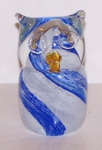 "LOVELY OWL BLUE & WHITE ART GLASS  3 5/8"" PAPERWEIGHT - $23.75"