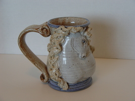 Stunning Figural Art Pottery Horse with Flowing Mane Mug  - $25.00