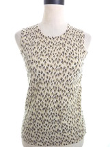 Ann Taylor Wool Sweater Vest Medium Animal Print Brown Beige Angora Blend - $15.00