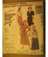 "UNCUT Sewing Pattern 1992 McCALL'S 10,12,14,24 ""Suitable"" DRESS 5810 [Z180] - $4.51"