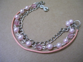 Think Pink bracelet with Awareness Ribbon Charm - $8.00