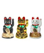 "LUCKY BECKONING FORTUNE CAT 4"" Gold White Black Maneki Neko Waving Wealt... - $6.95"