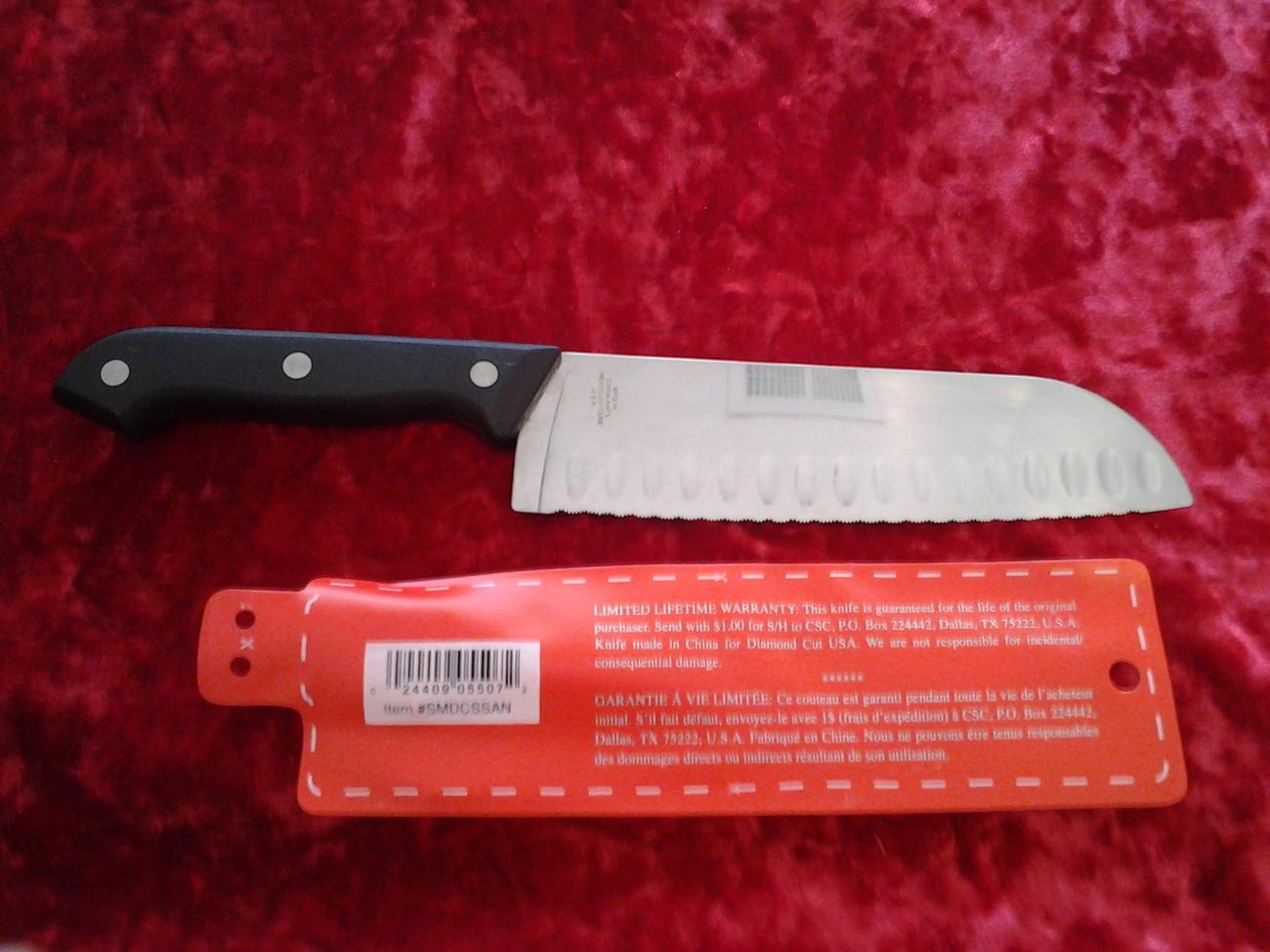 "Santoku Knife Diamond Cut Supreme Never Needs Sharpening, 11.5"" inches Long"