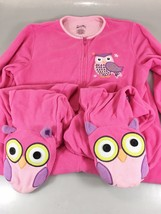 Nick & Nora Womens S Owls Hot Pink One Piece Fleece Footed Pajamas - $43.61