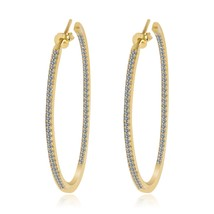 """Pave Signity 5A Cubic Zirconia 2"""" InSideOut Sterling Silver Hoop Earrings-925-CZ - $79.19"""