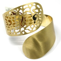 SOLID 925 STERLING SILVER BANGLE BRACELET, SNAKE FLOWER, DOUBLE, YELLOW SATIN image 1