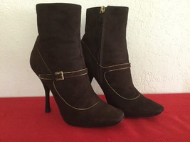 Authentic Louis Vuitton Women's Brown Suede Ankle Boots 37 1/2 - $275.00
