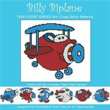 Take Flight Billy Biplane cross stitch chart Pinoy Stitch - $4.50