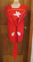 Vintage Smock Apron Handmade Red with White Accents - $10.88