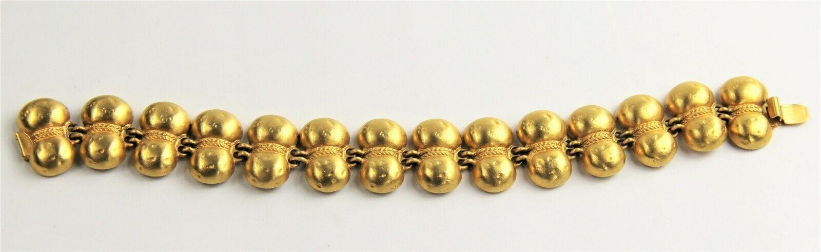"7.5"" VINTAGE ESTATE Jewelry MATTE GOLD PLATE TRIBAL BOHO CHIC BRACELET"