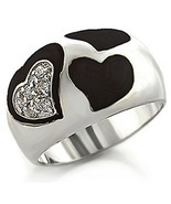 Premium Pave CZ and Black Epoxy Heart Rhodium Plated Silver Band Ring Size 10 - $29.99