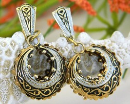 Vintage Damascene Enamel Hoop Earrings Spain Spanish Clips - $17.95