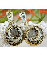 Vintage Damascene Enamel Hoop Earrings Spain Spanish Clips - $17.95