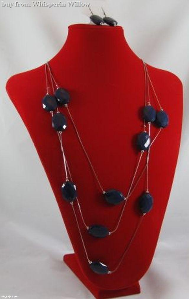 Primary image for Dark Blue Opaque Acrylic Rhodium Plated Brass Necklace and Earring Set