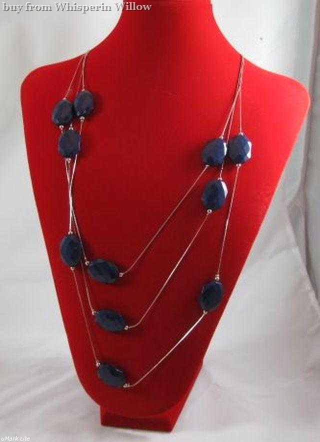 Dark Blue Opaque Acrylic Rhodium Plated Brass Necklace and Earring Set