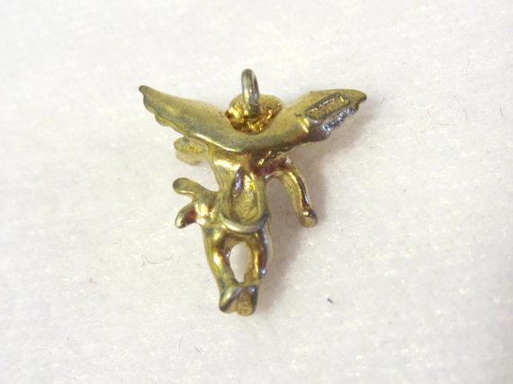 Vintage sterling silver Goldtone Angel pendant