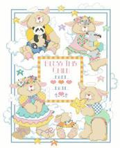 Welcome Bunnies baby birth record cross stitch chart Kooler Design Studio - $14.40