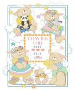 Welcome Bunnies baby birth record cross stitch chart Kooler Design Studio - $14.40