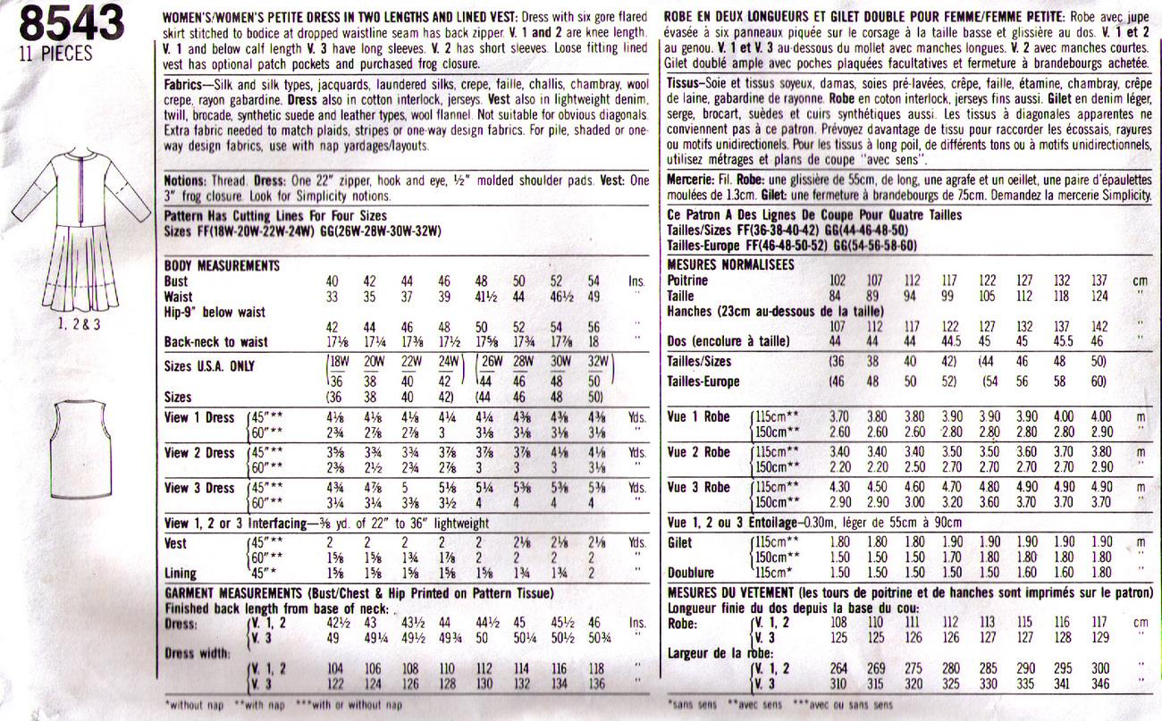 1993 DRESS & VEST Pattern 8543-s Size 26w-32w - UNCUT