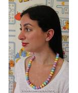 Vintage 80s candy dot pastel bead short necklace - $32.99