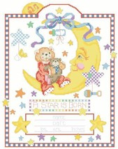 Celestial Moon babybirth record cross stitch ch... - $12.60