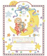 Celestial Moon babybirth record cross stitch chart Kooler Design Studio - $12.60