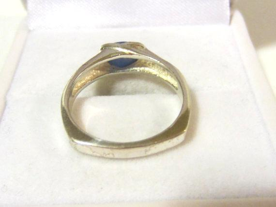 Sterling silver 925 blue Cat's Eye ring size 7
