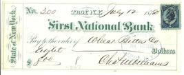 First Nat Bank Troy NY 1887 check Wheat Bitters patent medicine ephemera - $27.00