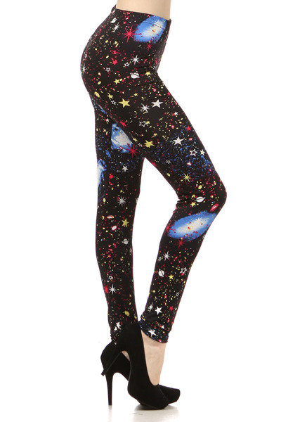 Lady's The Saturn Space, Stars, and Galaxy in Red Print Legging