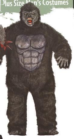 GORILLA WITH HANDS, FEET AND MASK PLUS SIZE